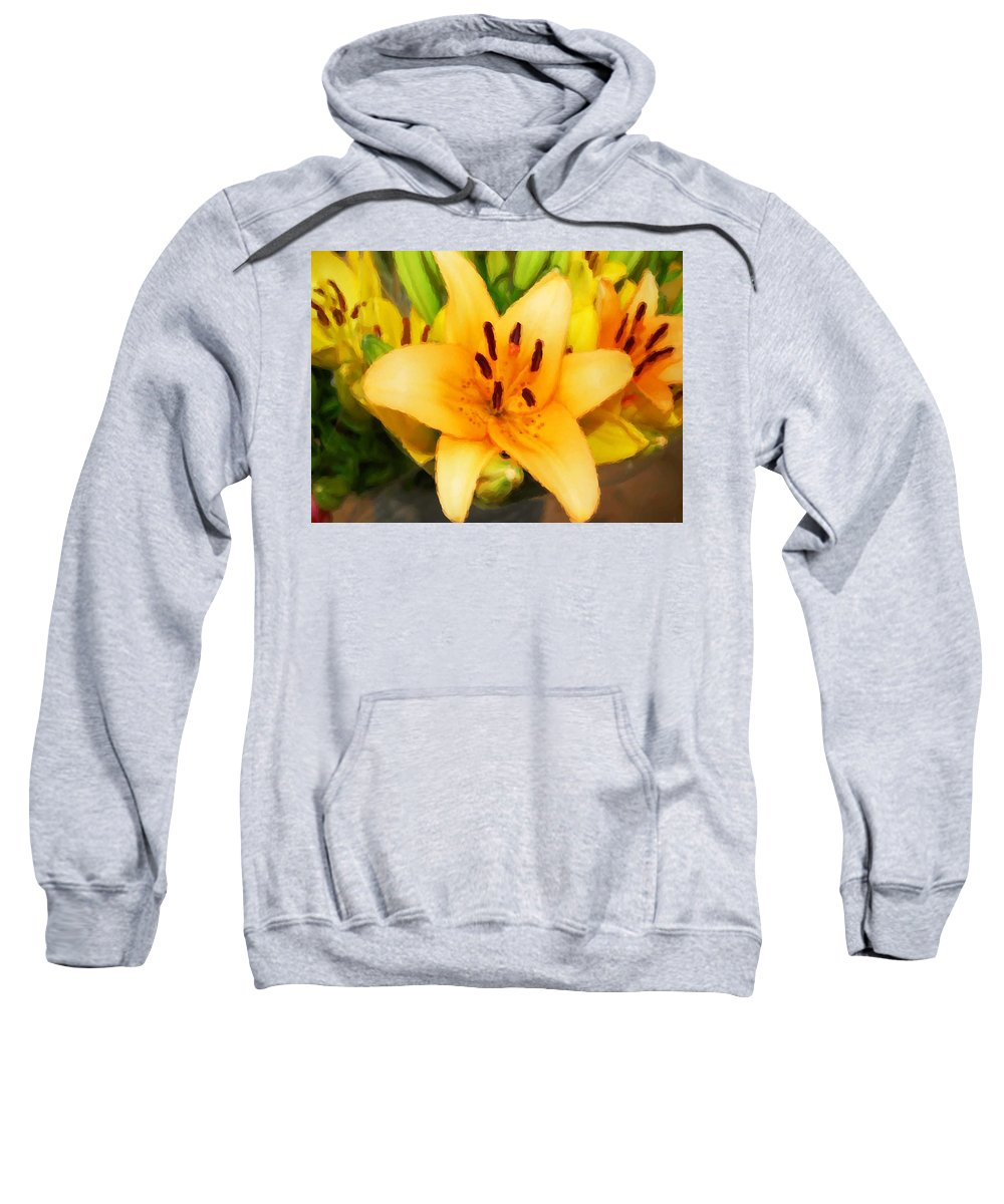 Sunflowers Sweatshirt featuring the painting Yellow Lily by Michael Thomas