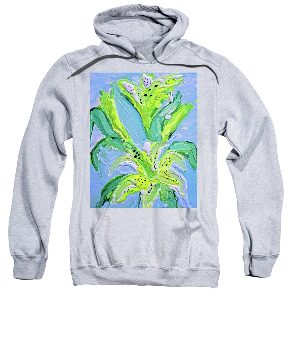 Lily Sweatshirt featuring the painting Yellow Lilys by Joel Bergquist