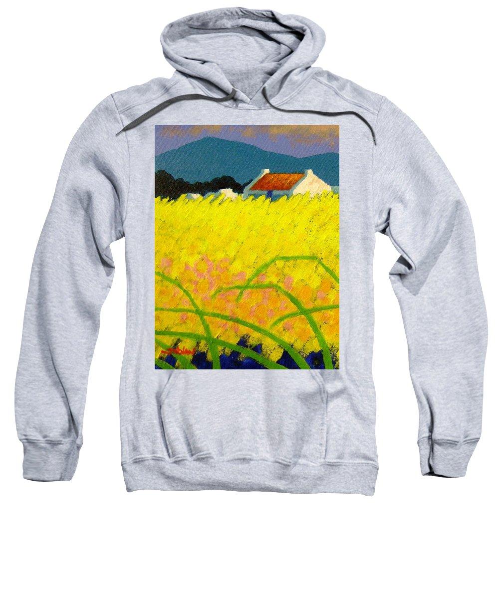 Irish Landscape Sweatshirt featuring the painting yellow Meadow Ireland by John Nolan