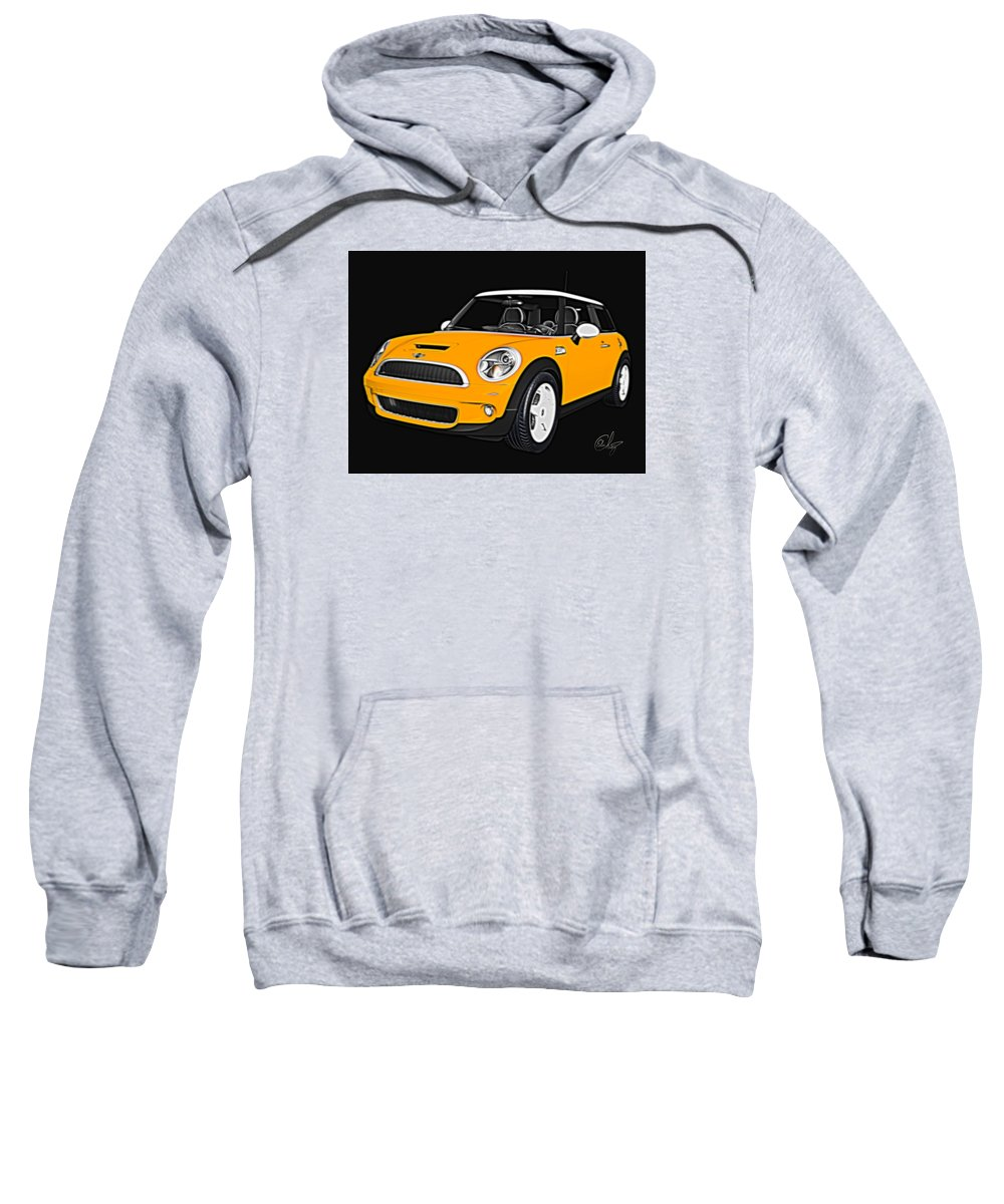 Automobile Sweatshirt featuring the mixed media Yellow Mini by Edier C