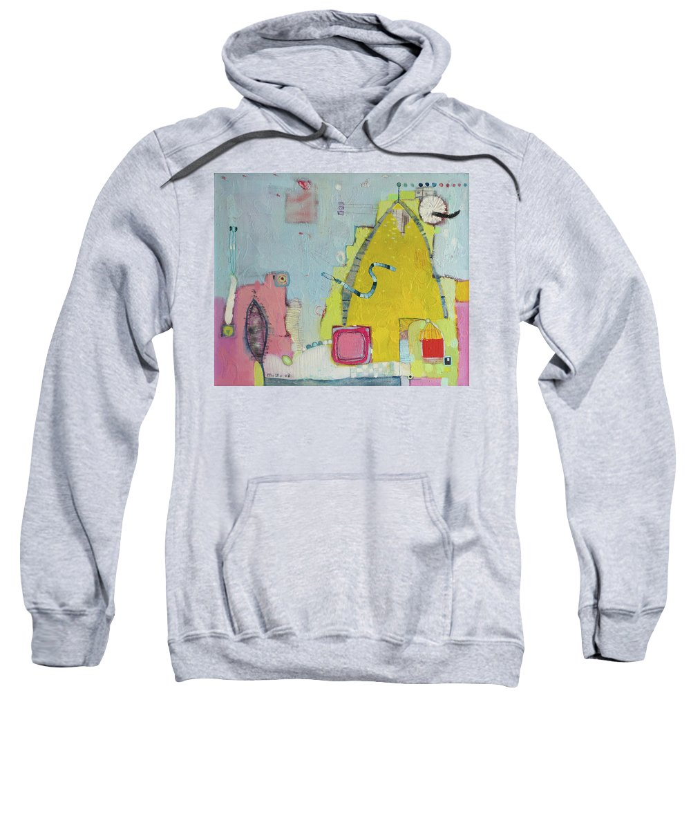Blue Sweatshirt featuring the painting Yellow Mountain by Todor Paskalev