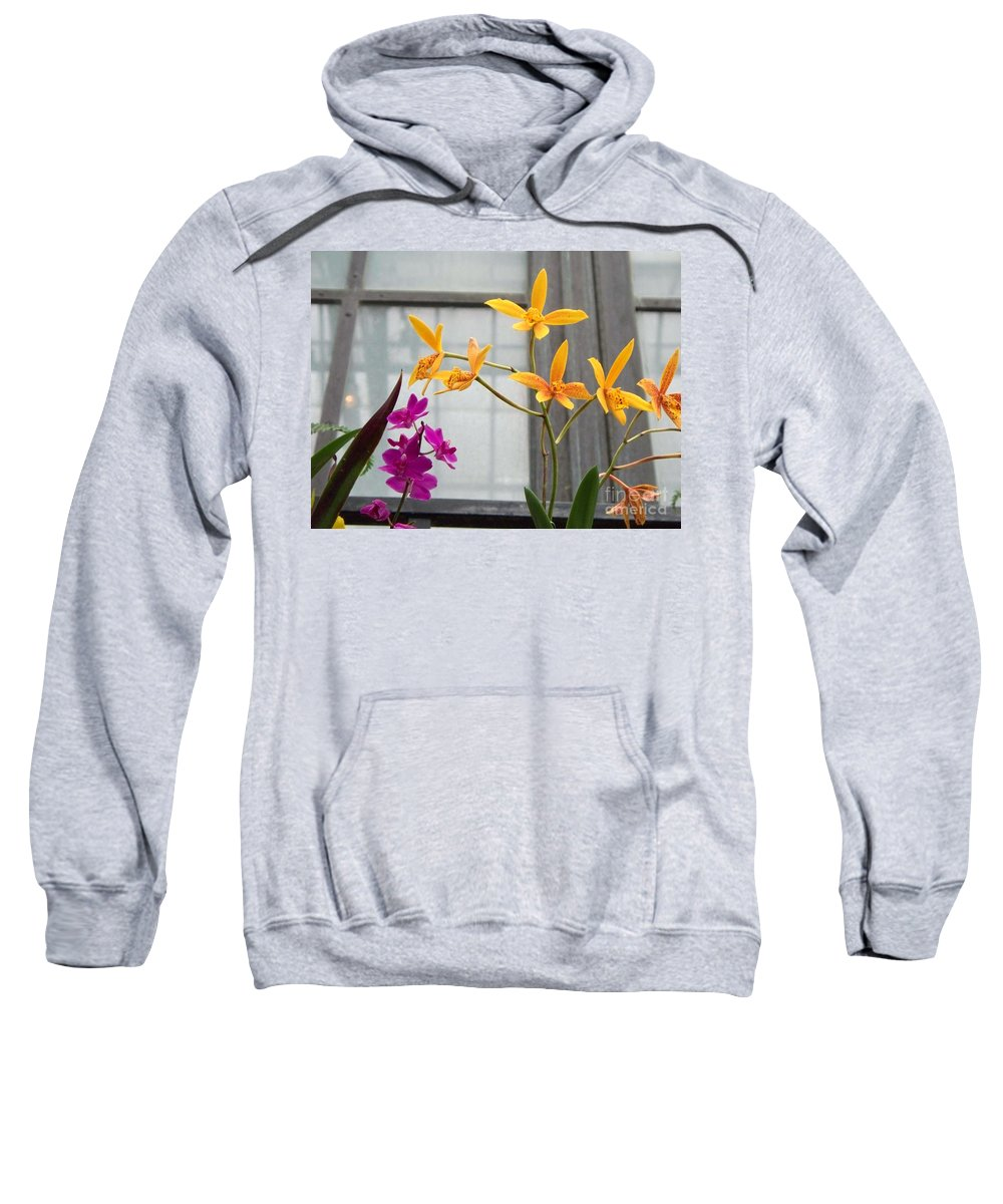 Yellow Sweatshirt featuring the painting Yellow Orange And Purple Flowers by Eric Schiabor