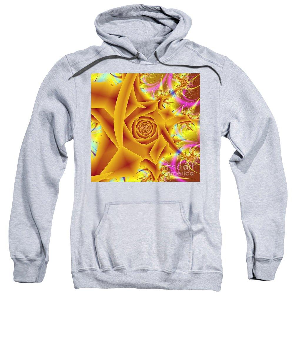 Digital Art Sweatshirt featuring the digital art Yellow Rose by Dragica Micki Fortuna