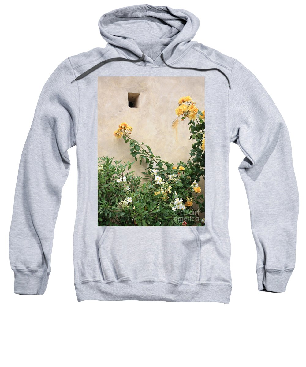 Yellow Roses Sweatshirt featuring the photograph Yellow Roses And Tiny Window At Carmel Mission by Carol Groenen