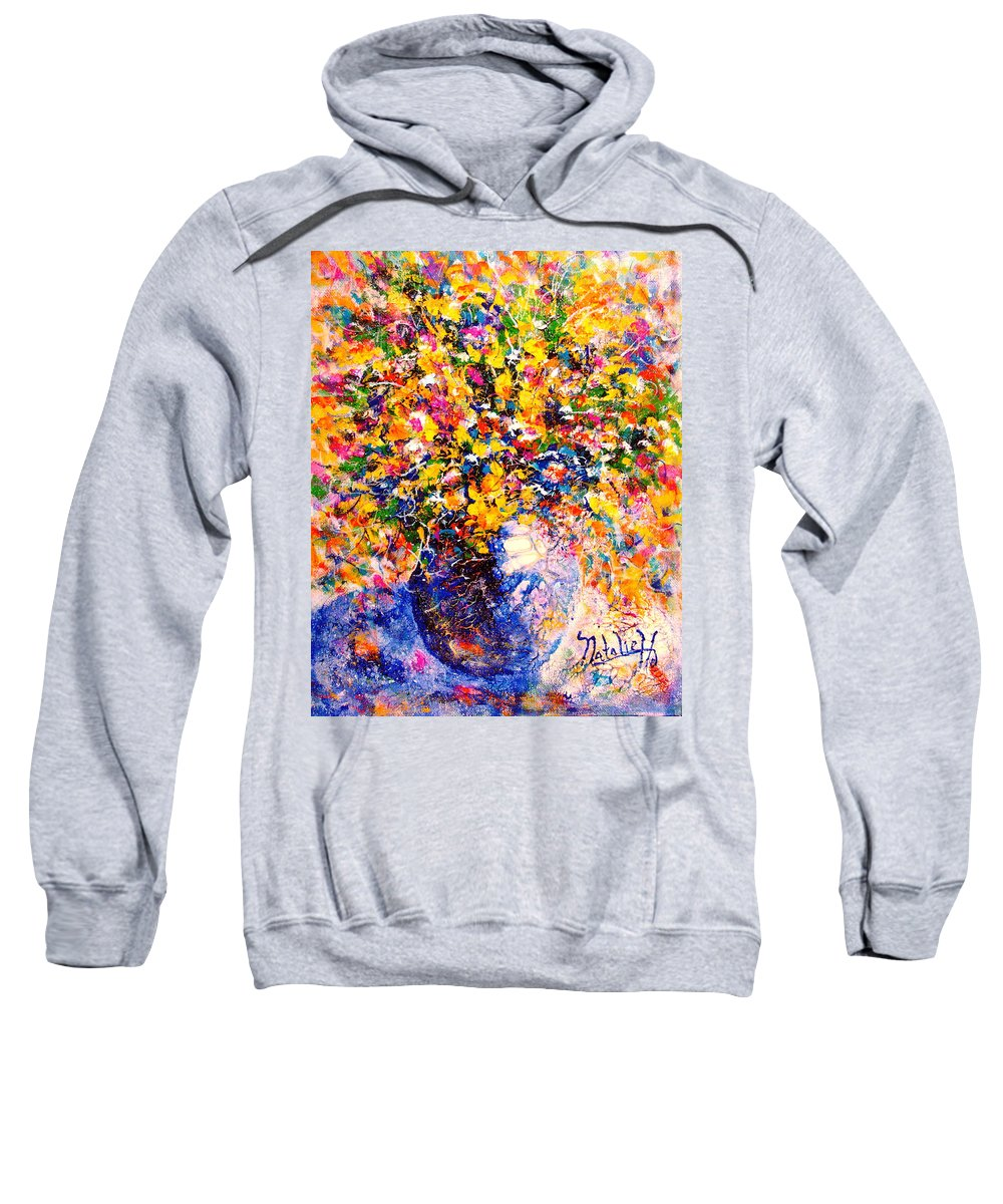 Flowers Sweatshirt featuring the painting Yellow Sunshine by Natalie Holland