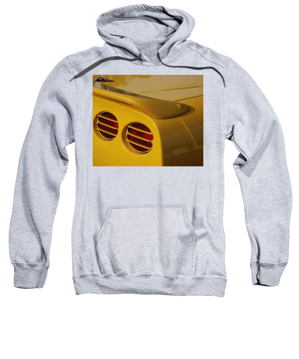 Corvette Sweatshirt featuring the photograph Yellow Vette Lights by Rob Hans