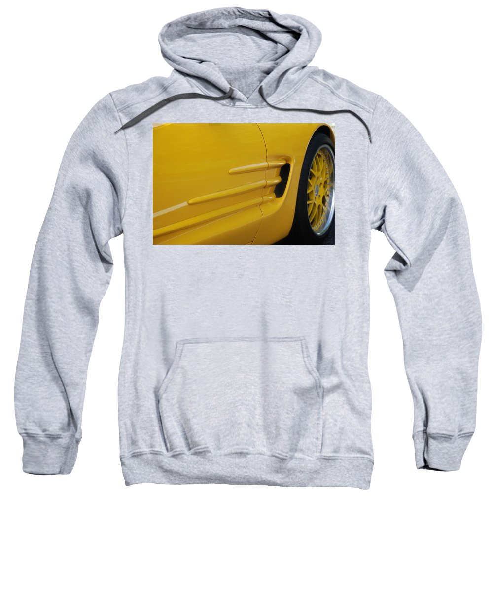 Corvette Sweatshirt featuring the photograph Yellow Vette by Rob Hans