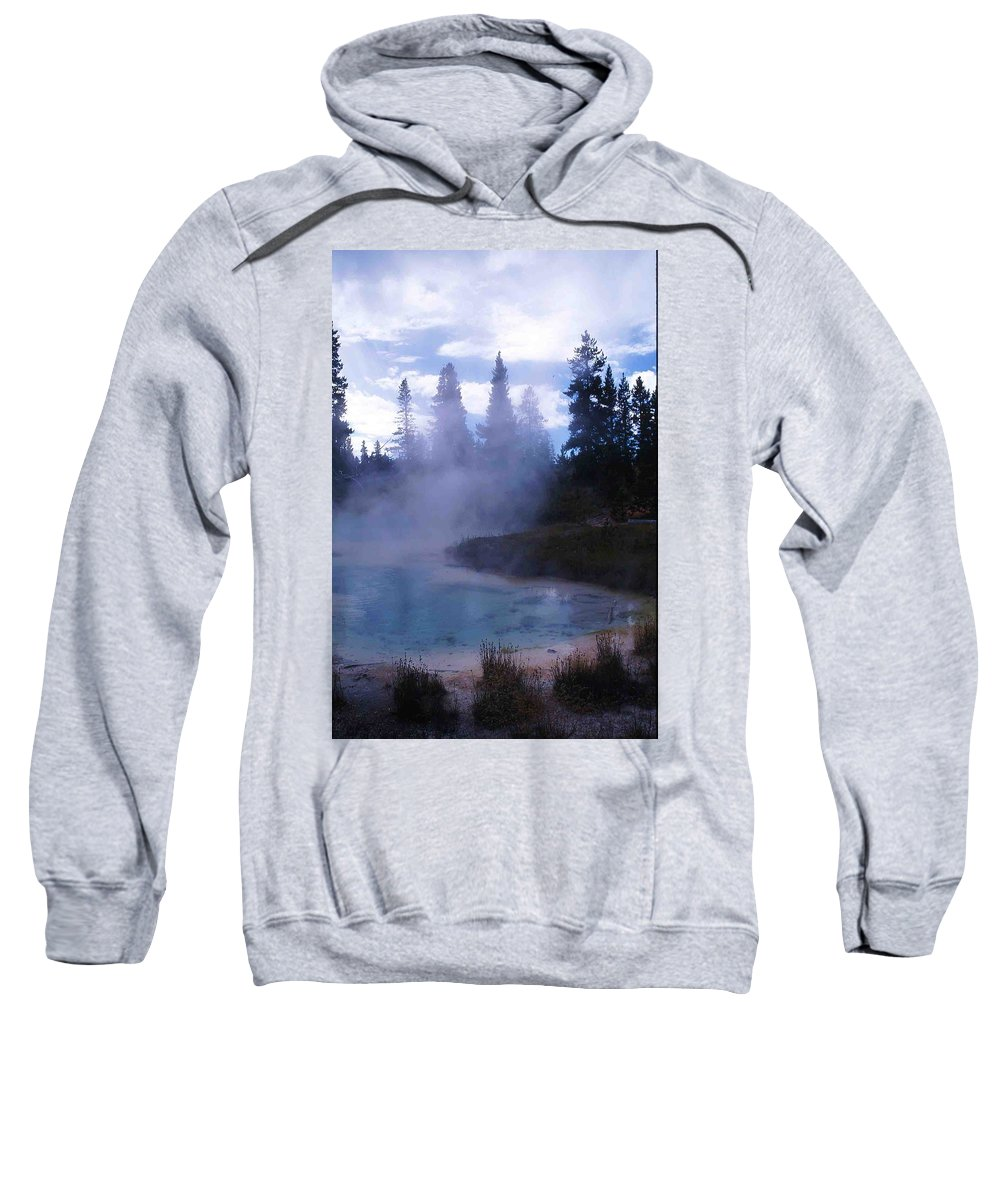 Yellowstone Sweatshirt featuring the photograph Yellowstone Haze by Nelson Strong