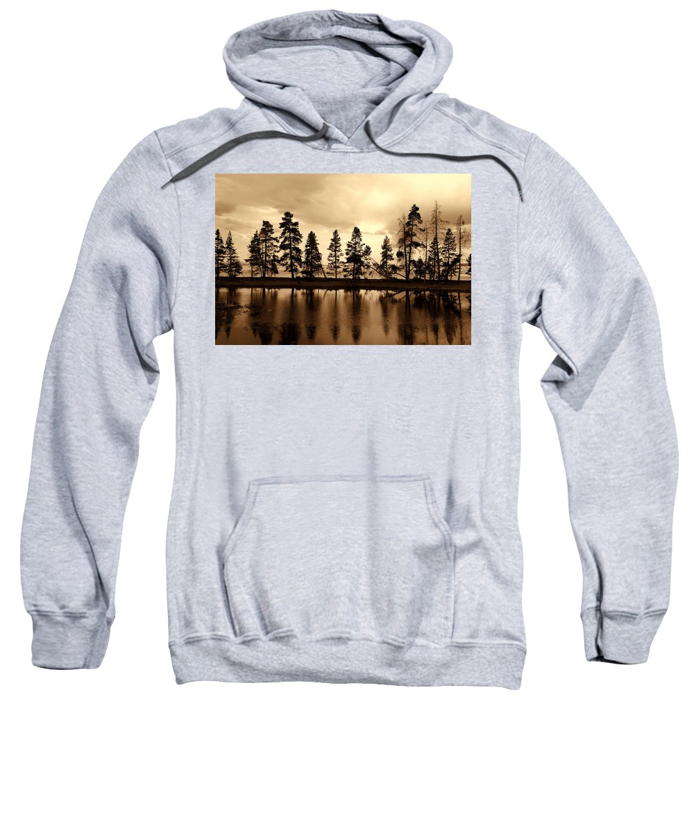Photography Sweatshirt featuring the photograph Yellowstone Lake by Susanne Van Hulst