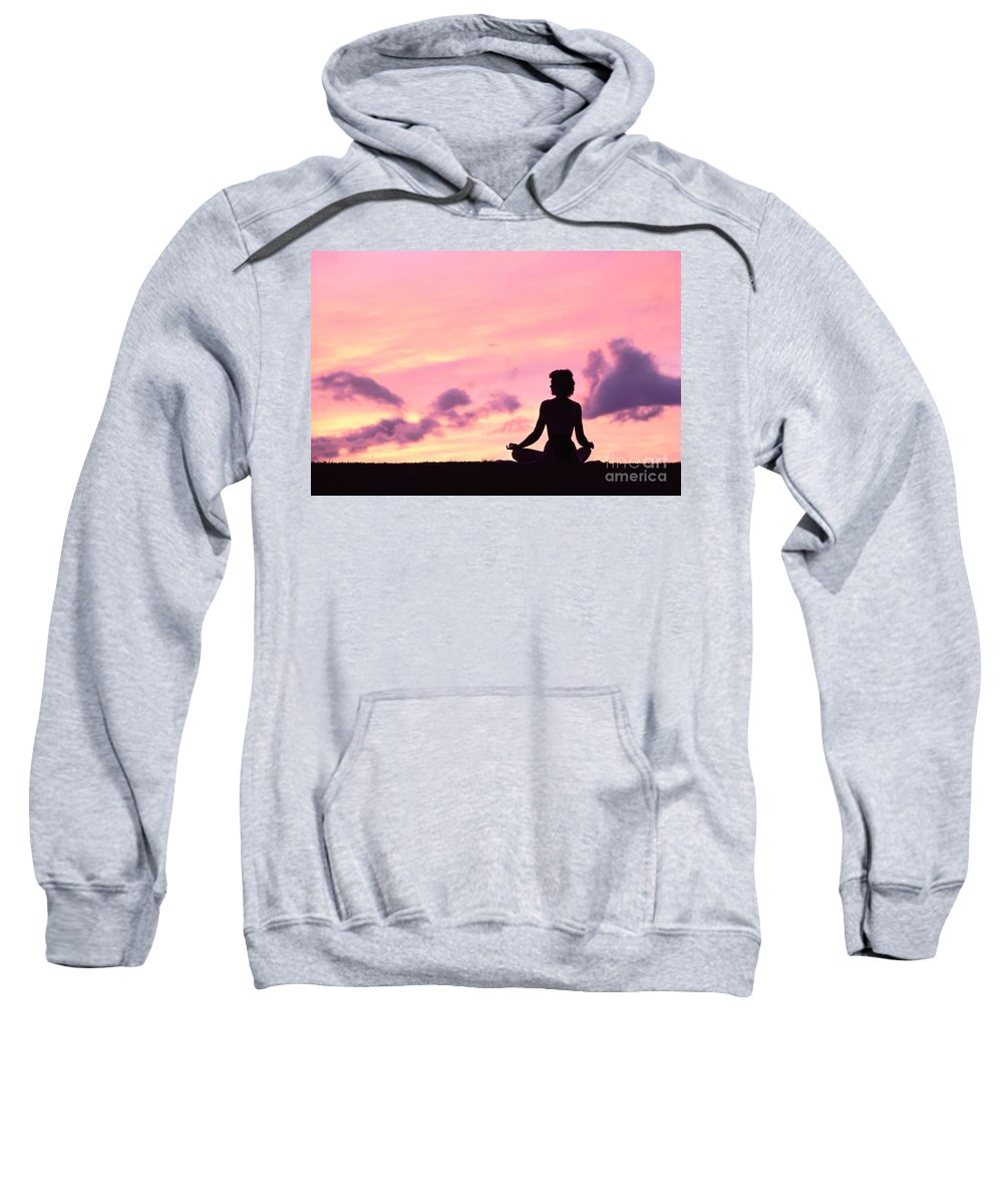 Active Sweatshirt featuring the photograph Yoga On Beach by Greg Vaughn - Printscapes