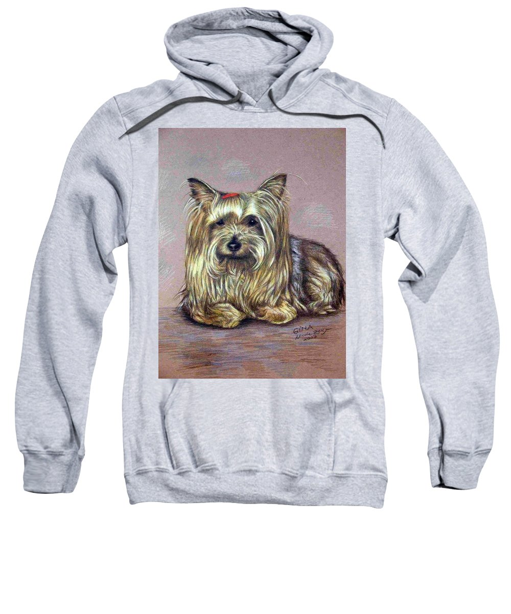 Dog Sweatshirt featuring the drawing Yorkshire Terrier by Nicole Zeug