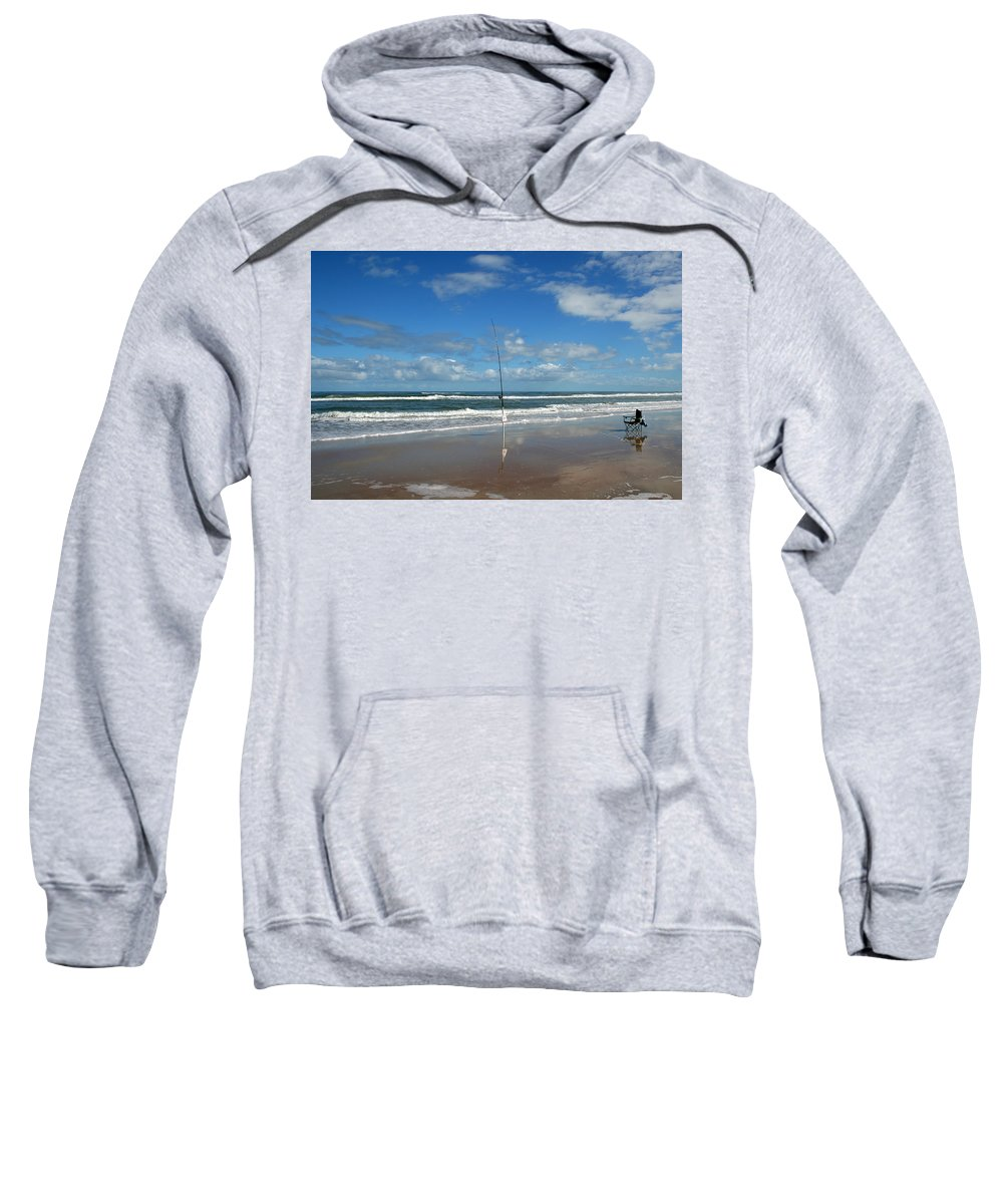 Fish Fishing Vacation Beach Surf Shore Rod Pole Chair Blue Sky Ocean Waves Wave Sun Sunny Bright Sweatshirt featuring the photograph You Could Have Been There by Andrei Shliakhau