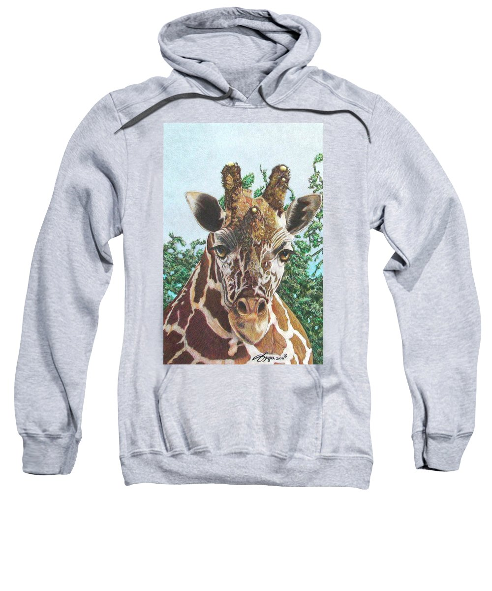 Wildlife Sweatshirt featuring the drawing You Lookin At Me by Beverly Fuqua