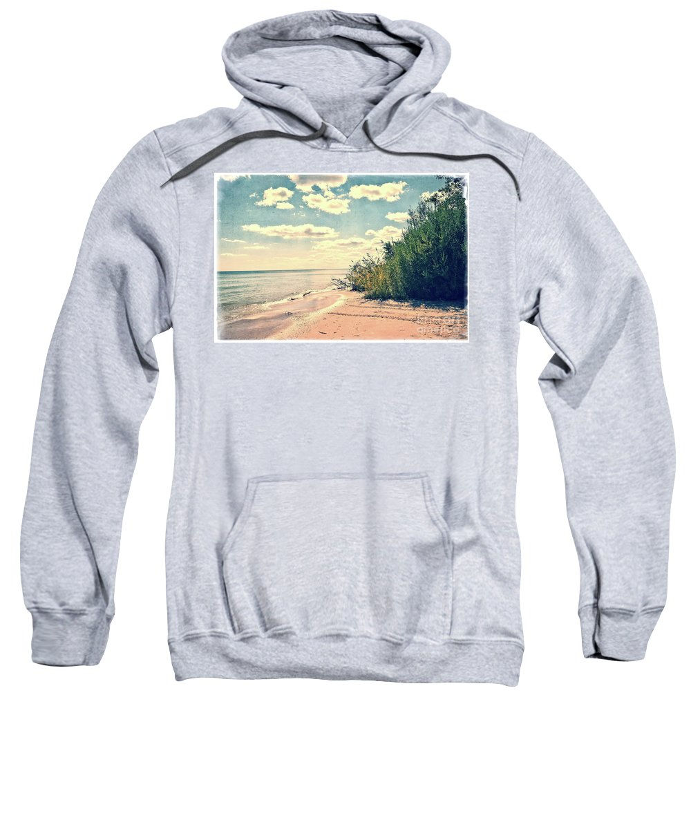 Lake Michigan Sweatshirt featuring the photograph You Walked Away - Wisconsin by Mary Machare