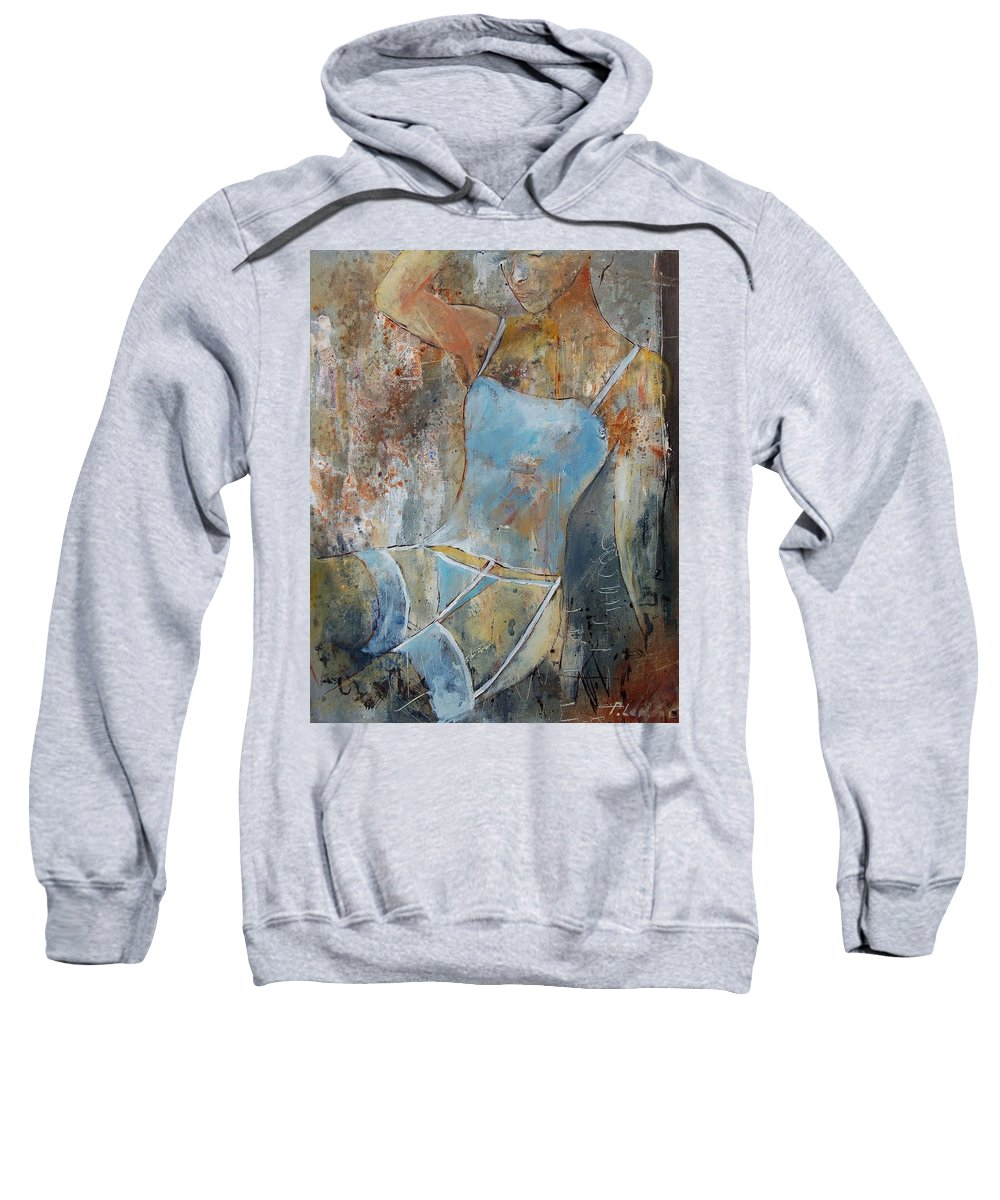 Nude Sweatshirt featuring the painting Young Girl 451108 by Pol Ledent