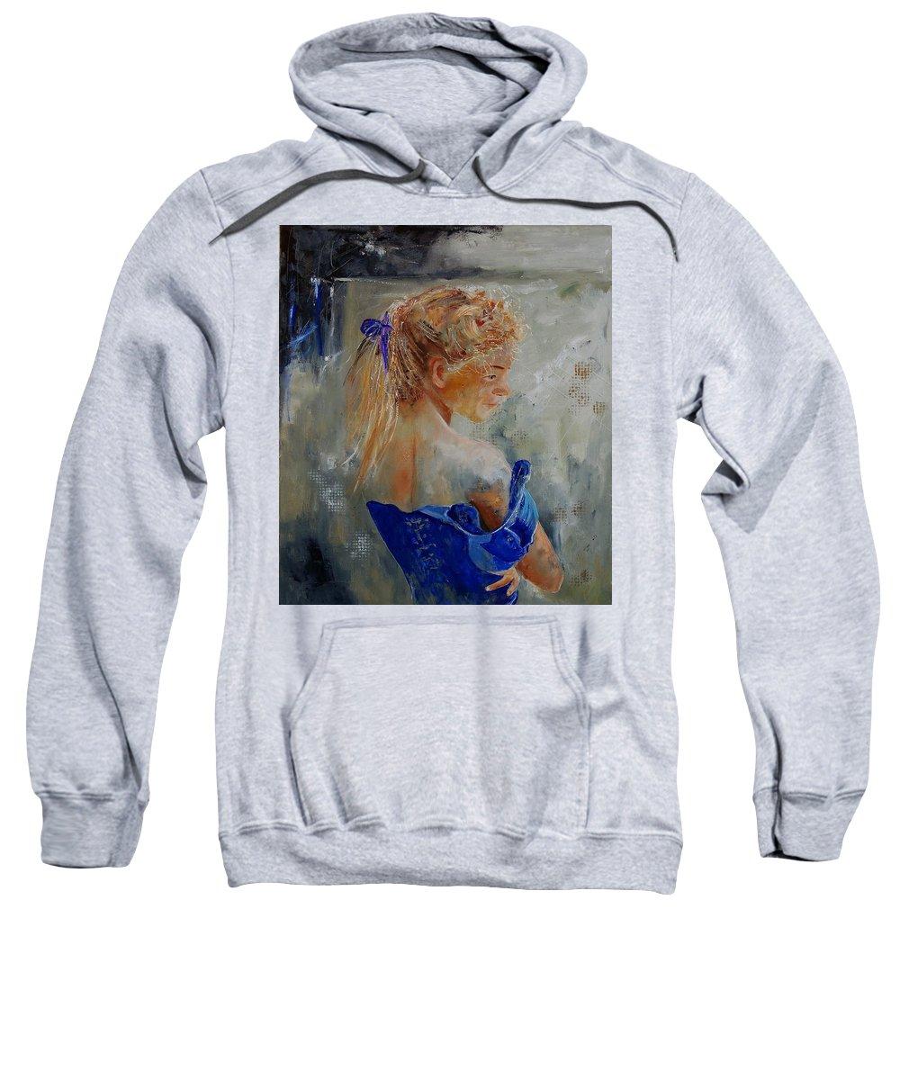 Gir Sweatshirt featuring the painting Young Girl 78 by Pol Ledent