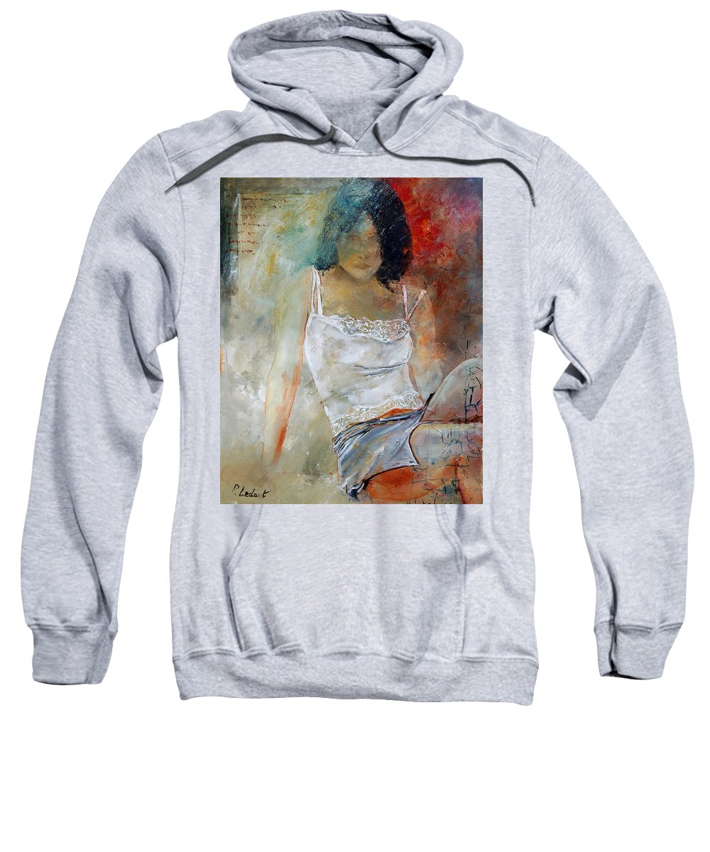 Nude Sweatshirt featuring the painting Young Girl Sitting by Pol Ledent