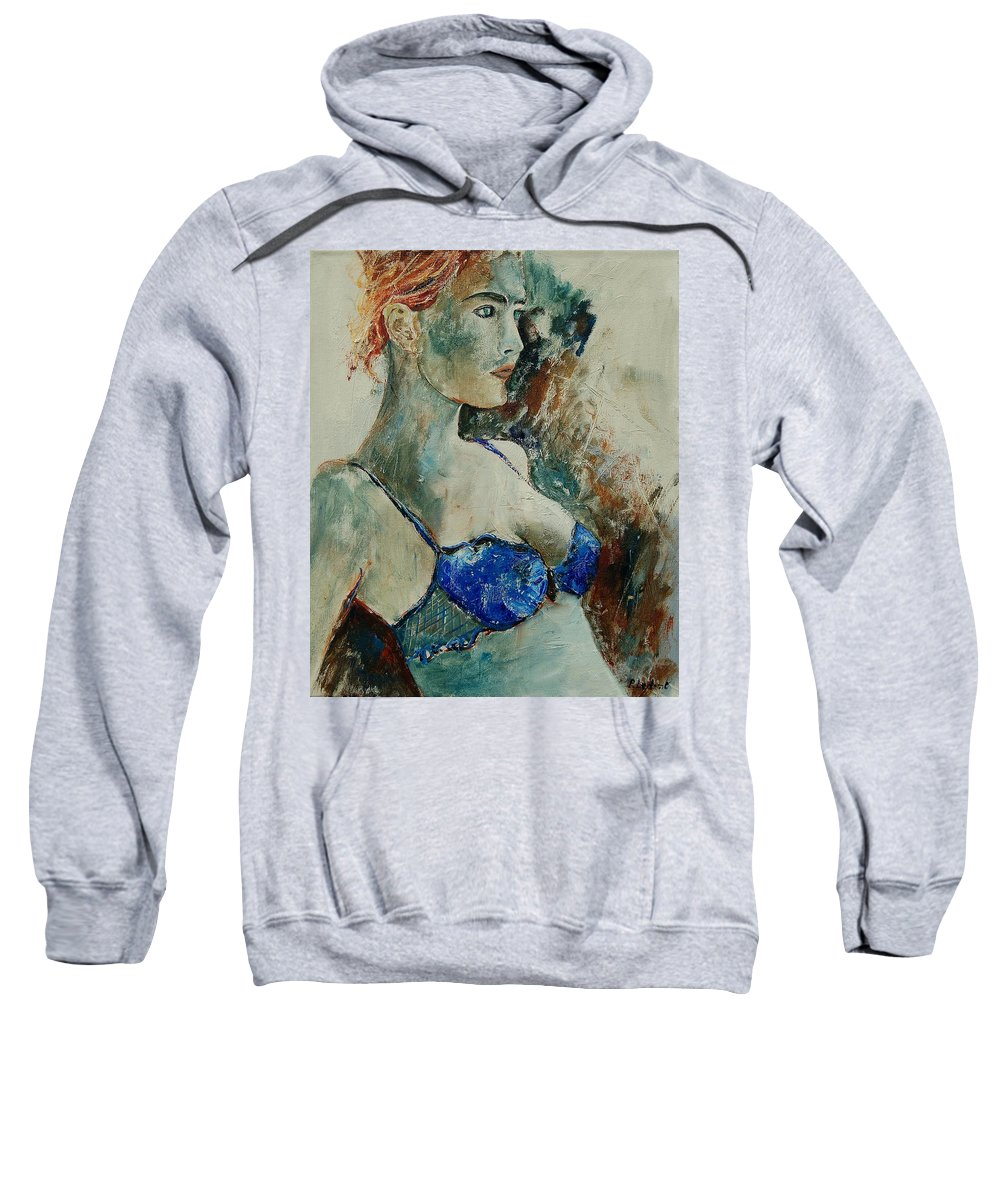 Nude Sweatshirt featuring the painting Young Lady 56 by Pol Ledent