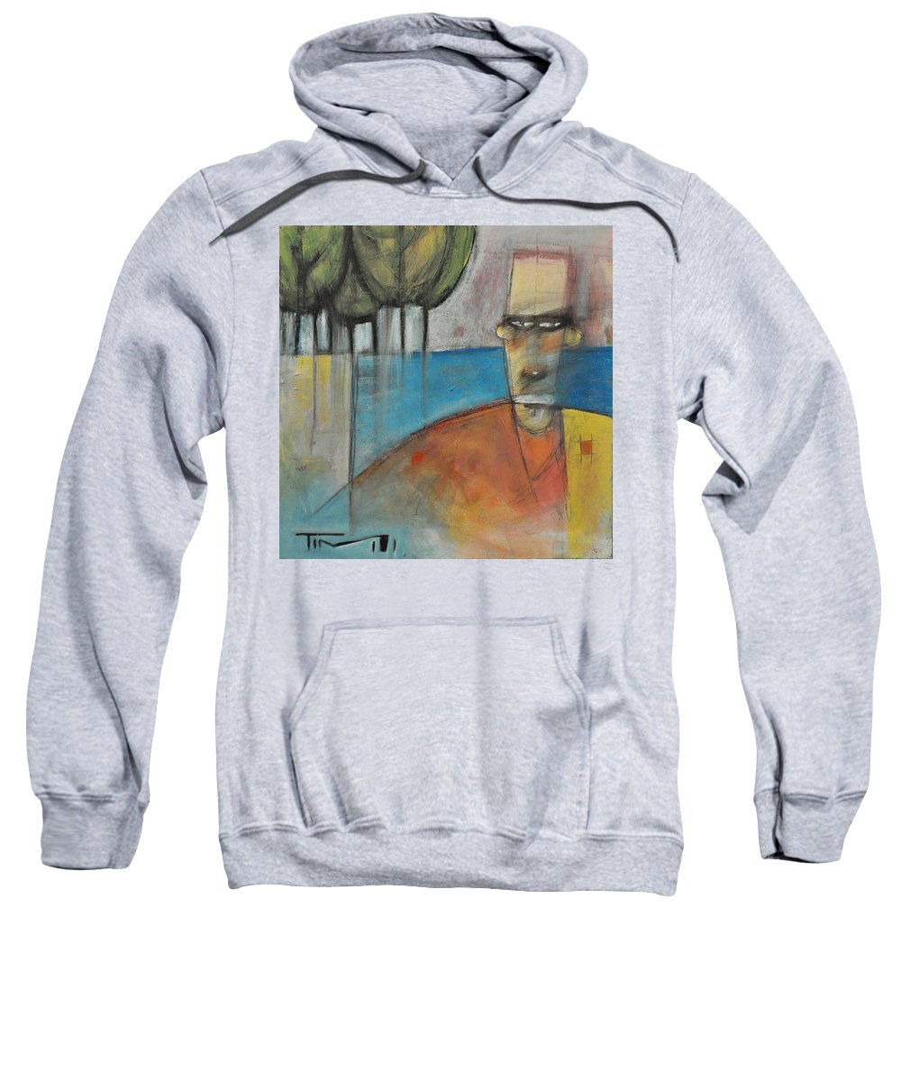 Man Sweatshirt featuring the painting Young Man And The Sea With Trees by Tim Nyberg