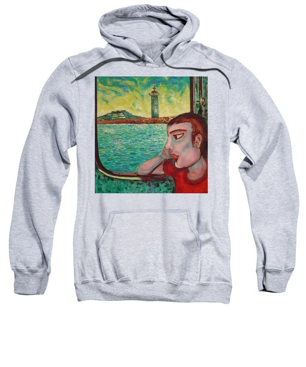 Window Sweatshirt featuring the painting Young Man In A Window by Ericka Herazo