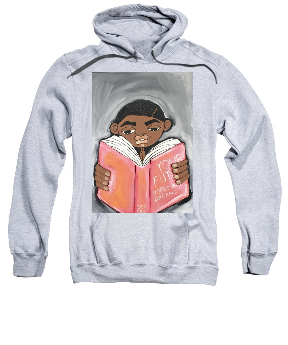 Black Art Sweatshirt featuring the painting Your Future Boy by Deborah Carrie