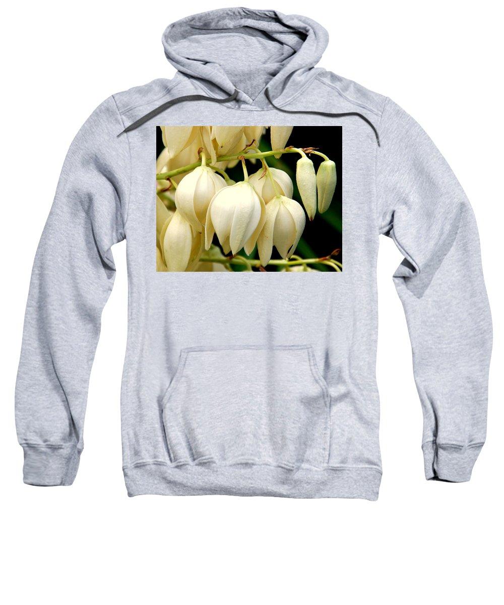 Yuca Sweatshirt featuring the photograph Yucca Flower by Susanne Van Hulst