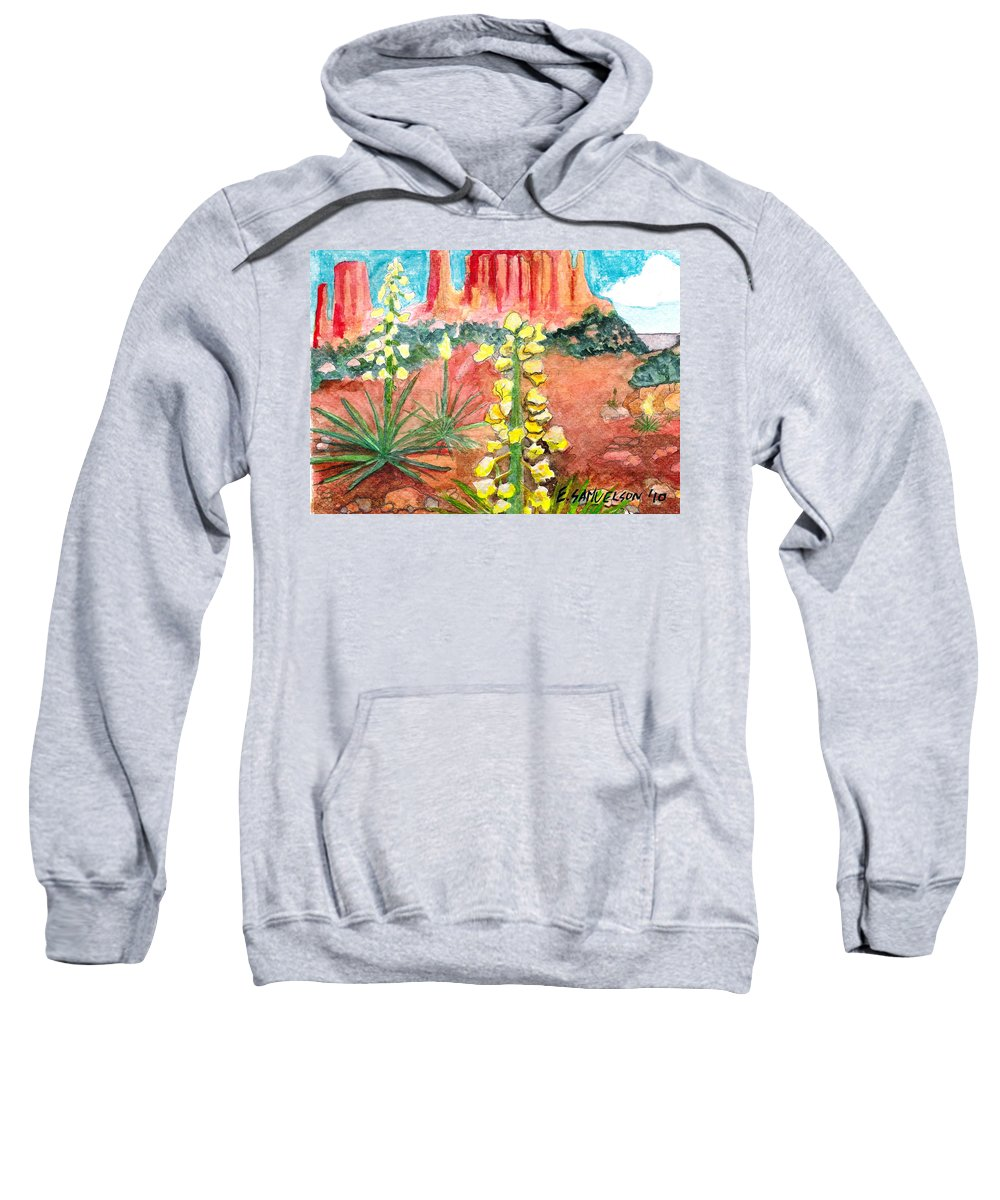 Yucca Sweatshirt featuring the painting Yucca In Monument Valley by Eric Samuelson