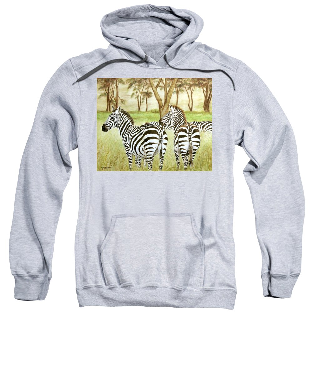 Zebras Sweatshirt featuring the painting Zebra Pals by Elaine Booth-Kallweit