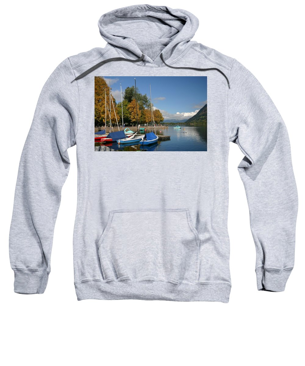 Sail Boats Sweatshirt featuring the photograph Zell Am See The Elements In Austria by Minaz Jantz