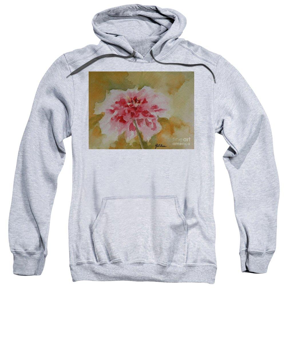 Zinnia Sweatshirt featuring the painting Zinnia by Gretchen Bjornson