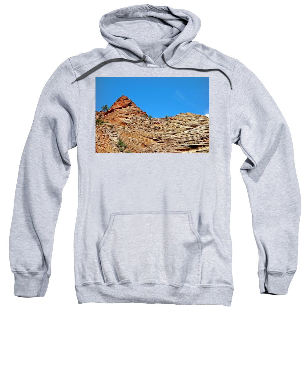 Zion Sweatshirt featuring the photograph Zion Checkerboard Formations by Robert Meyers-Lussier