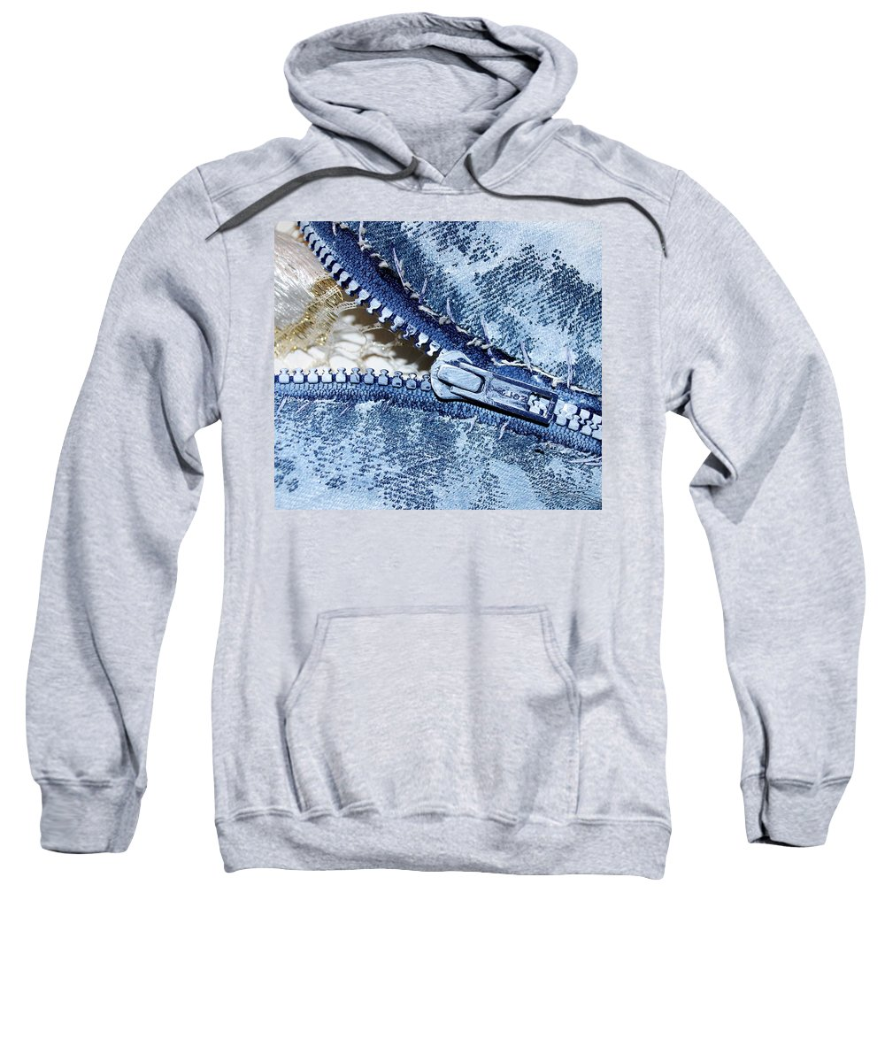 Painting Sweatshirt featuring the painting Zipper In Blue by Nancy Mueller