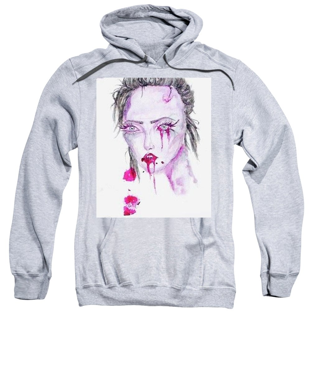 Blood Zombie Girl Sweatshirt featuring the painting Zombie by Alyssa Torres