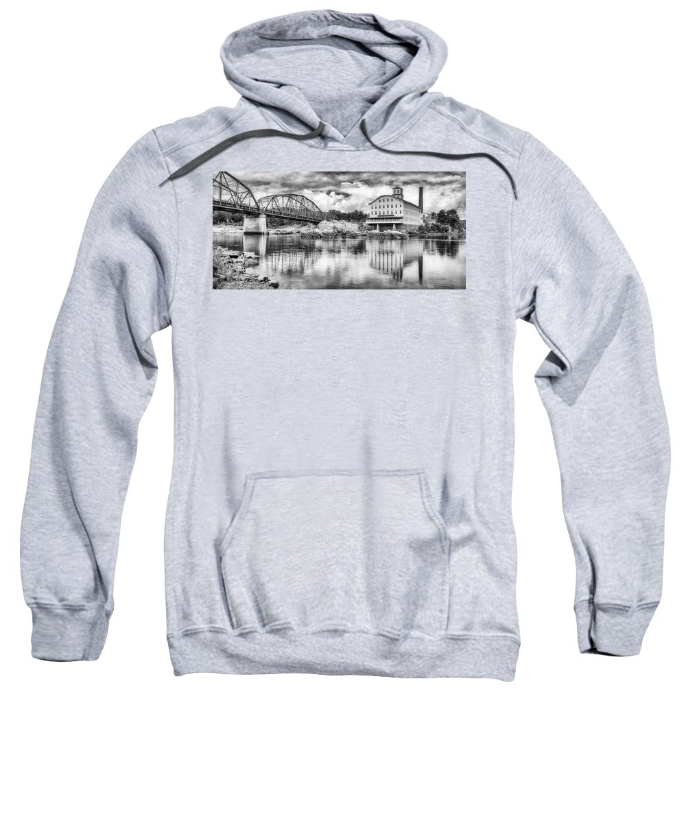 Androscoggin River Sweatshirt featuring the photograph Bowdoin Mill Pano by Jerry Fornarotto