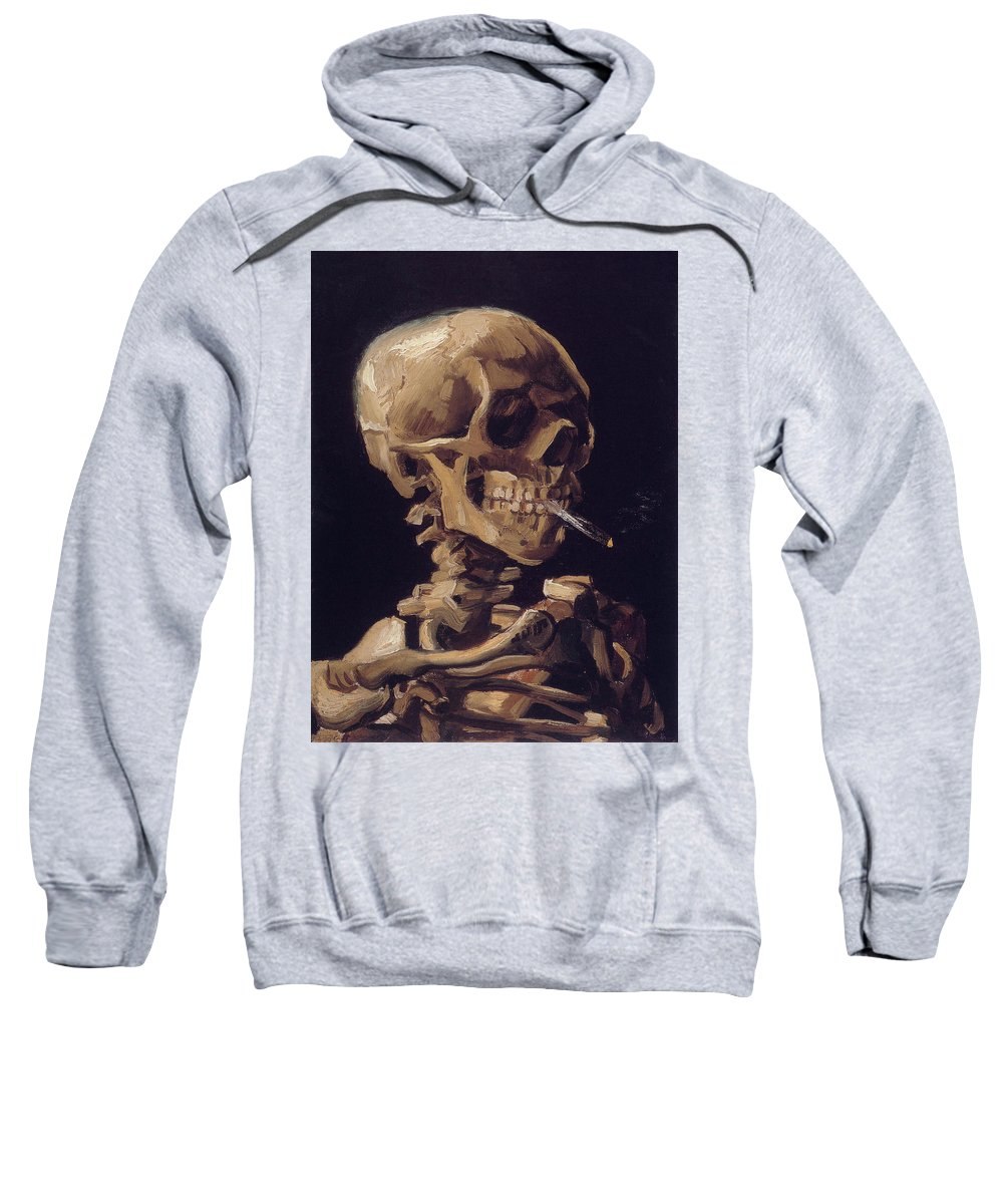 Vincent Van Gogh Sweatshirt featuring the painting Skull With Cigarette by Vincent van Gogh