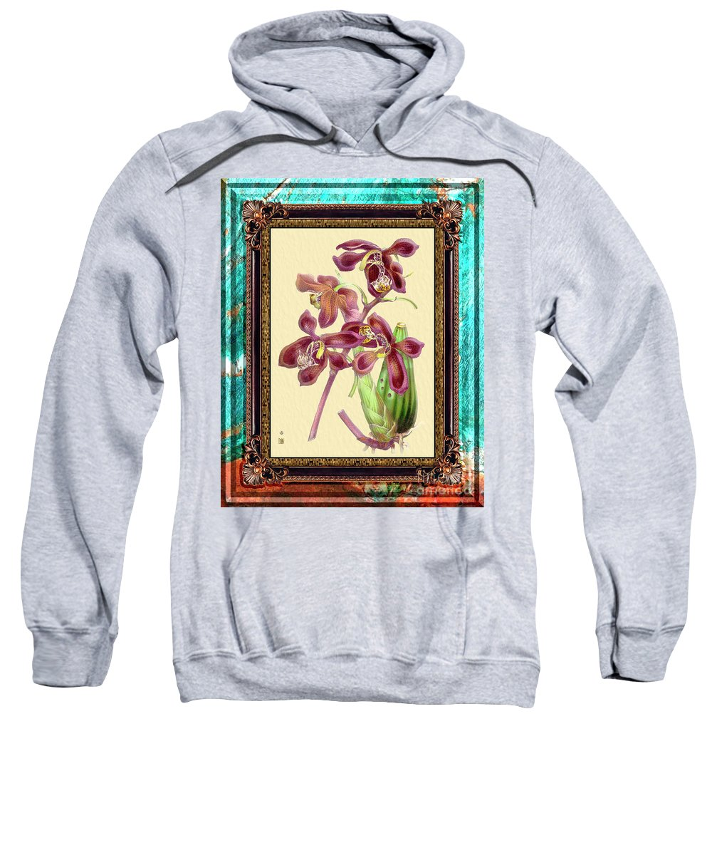 Marble Sweatshirt featuring the mixed media Vintage Orchid Antique Design Marble Caribbean-blue by Baptiste Posters