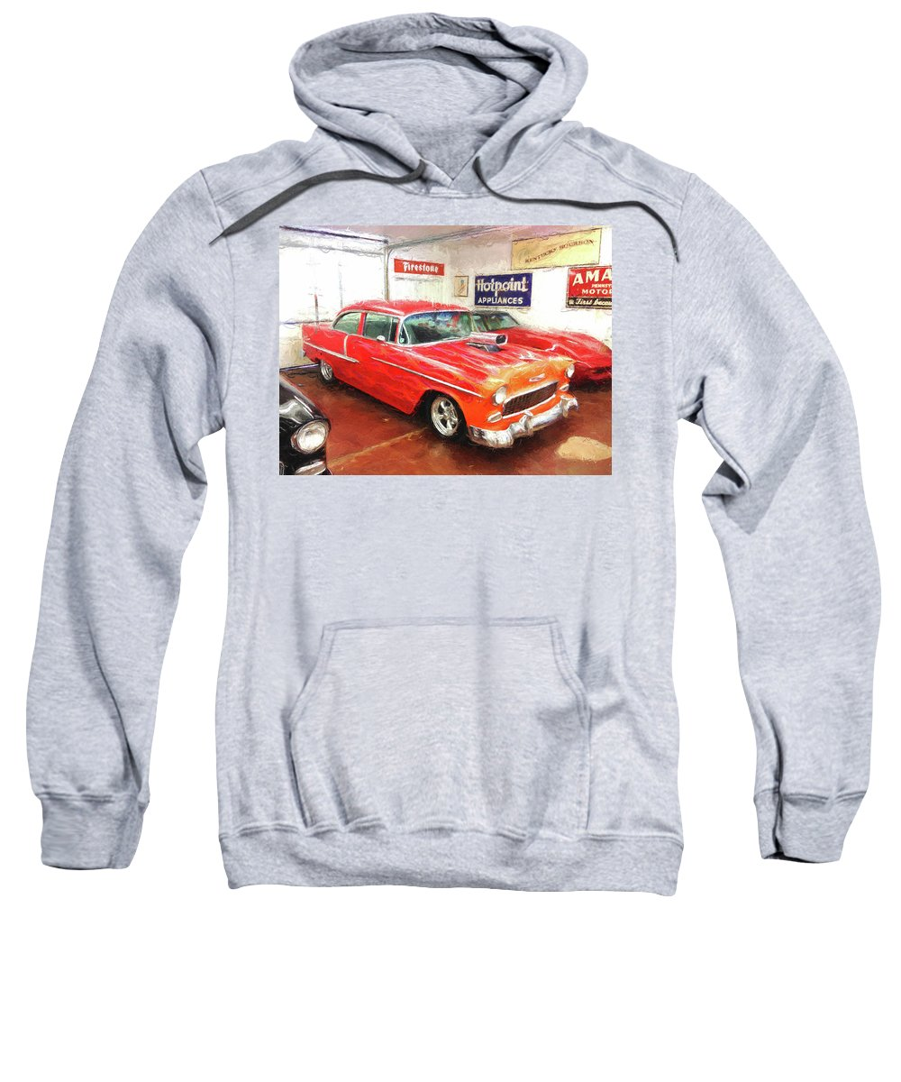 1955 Chevy Sweatshirt featuring the digital art 1955 Chevy Blower In The Gorage by Rick Wicker