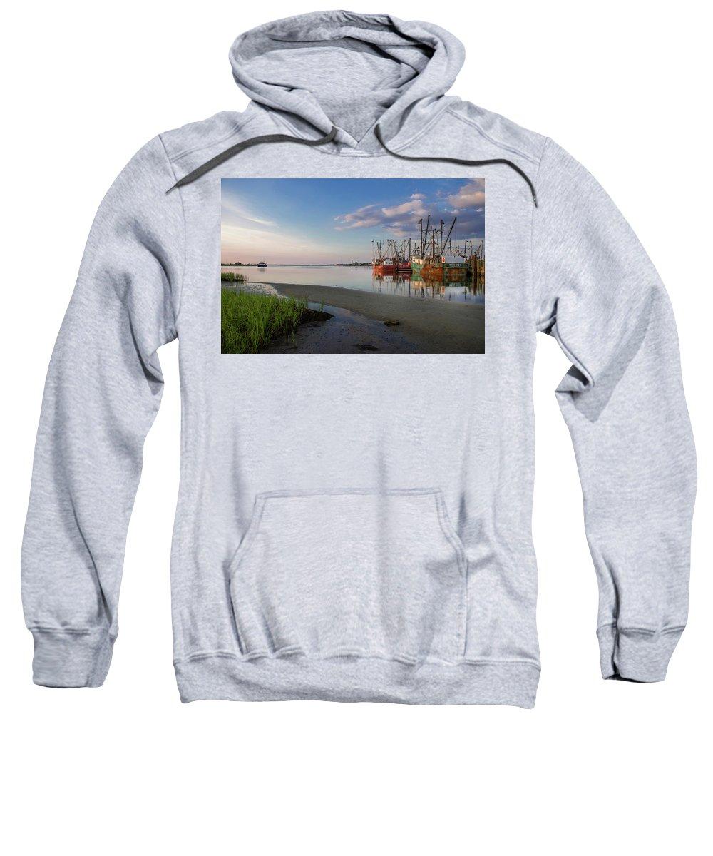 Dock Boat Bay Long Beach Island Viking Village Fishing Sweatshirt featuring the photograph The Bay by Kirk Cypel