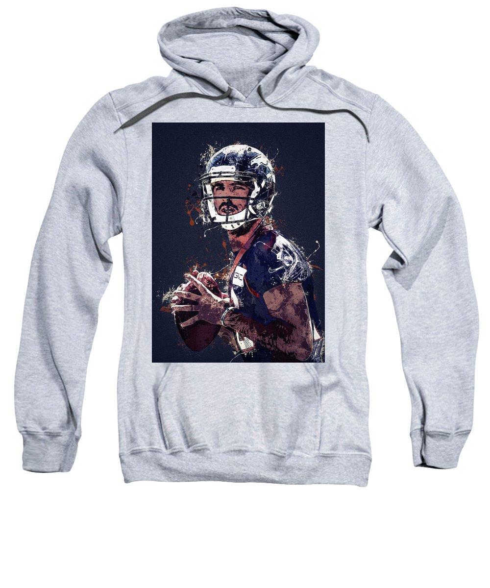 Case Keenum Sweatshirt featuring the digital art Denver Broncos.case Keenum. by Nadezhda Zhuravleva