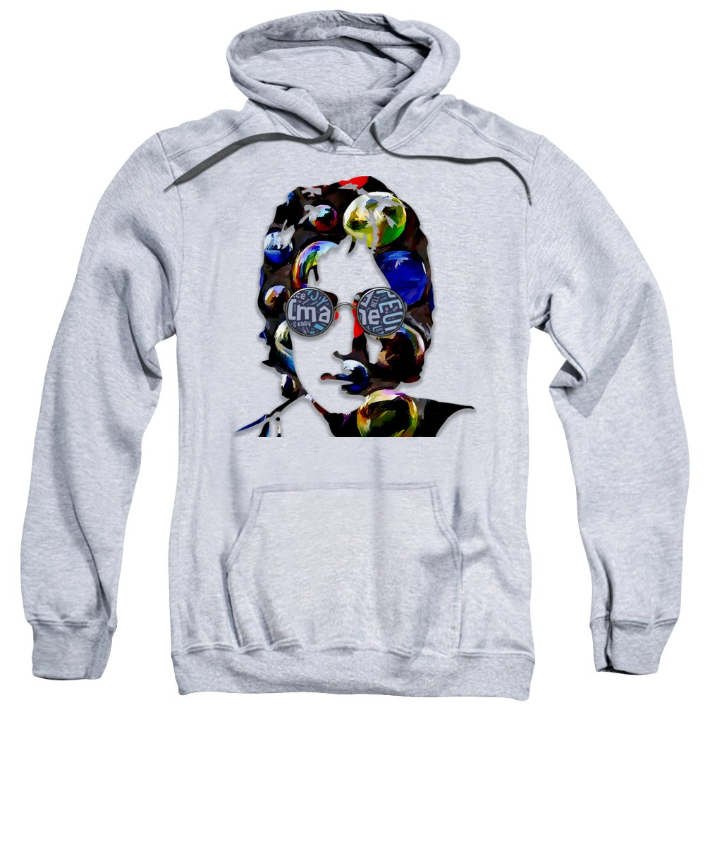 John Lennon Sweatshirt featuring the mixed media John Lennon Imagine by Marvin Blaine