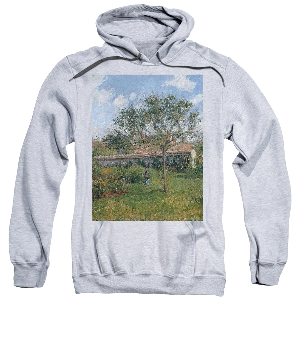 Camille Pissarro Sweatshirt featuring the painting A Corner Of The Meadow At Eragny, 1902 by Camille Pissarro