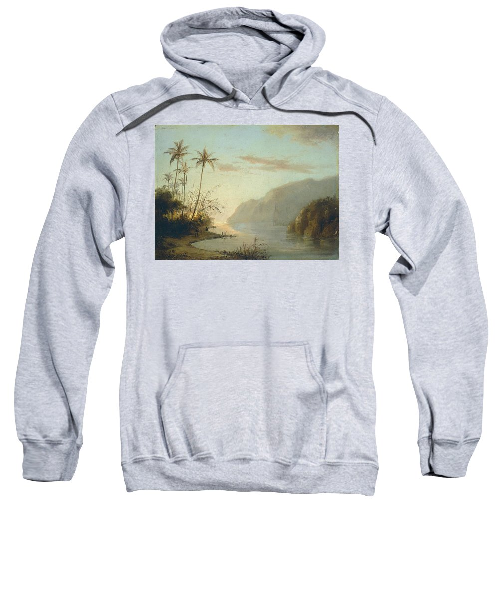 Camille Pissarro Sweatshirt featuring the painting A Creek In St. Thomas Virgin Islands, 1856 by Camille Pissarro