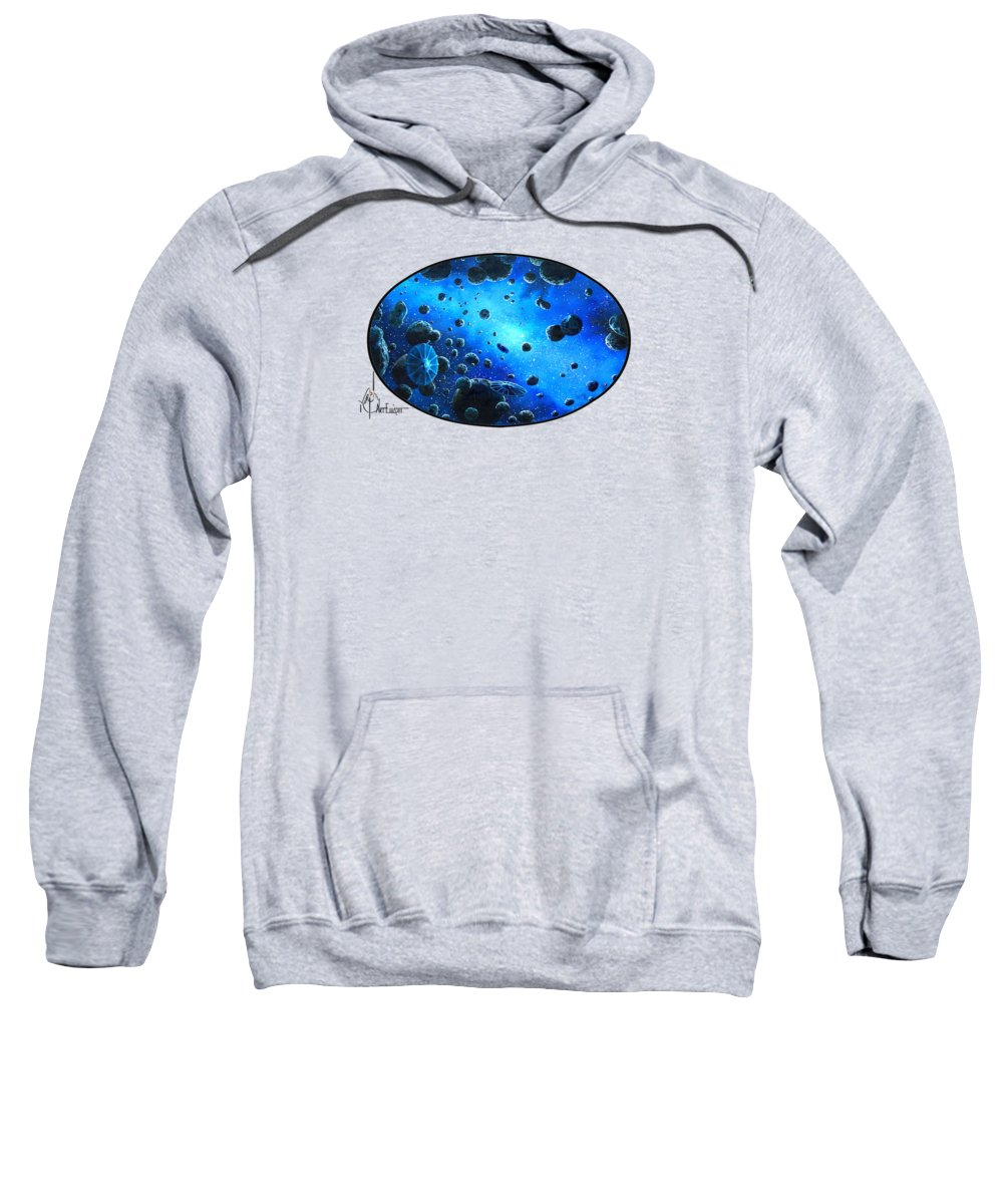 Oil Sweatshirt featuring the painting Aliens in Space by Murphy Elliott