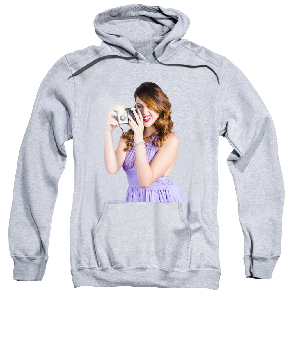 Camera Sweatshirt featuring the photograph Amateur Photographer Practising With Retro Camera by Jorgo Photography - Wall Art Gallery