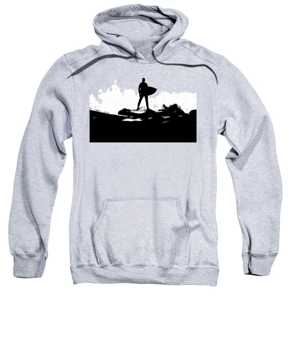 Surfer Sweatshirt featuring the digital art Surf's Up by Pennie McCracken