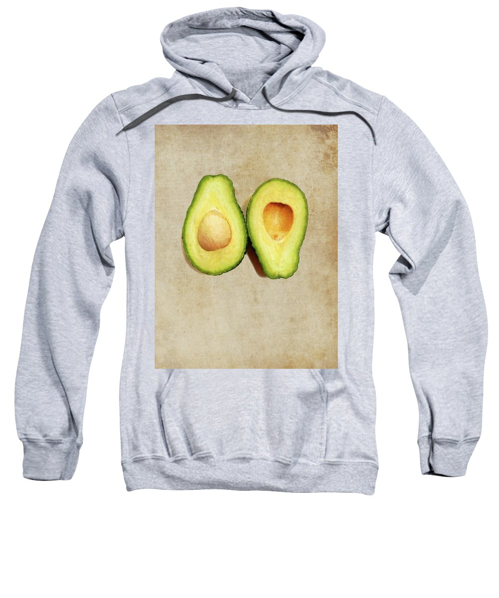 Avocado Sweatshirt featuring the digital art Avocado On Old Paper - Parchment Background by Pascal Lagesse