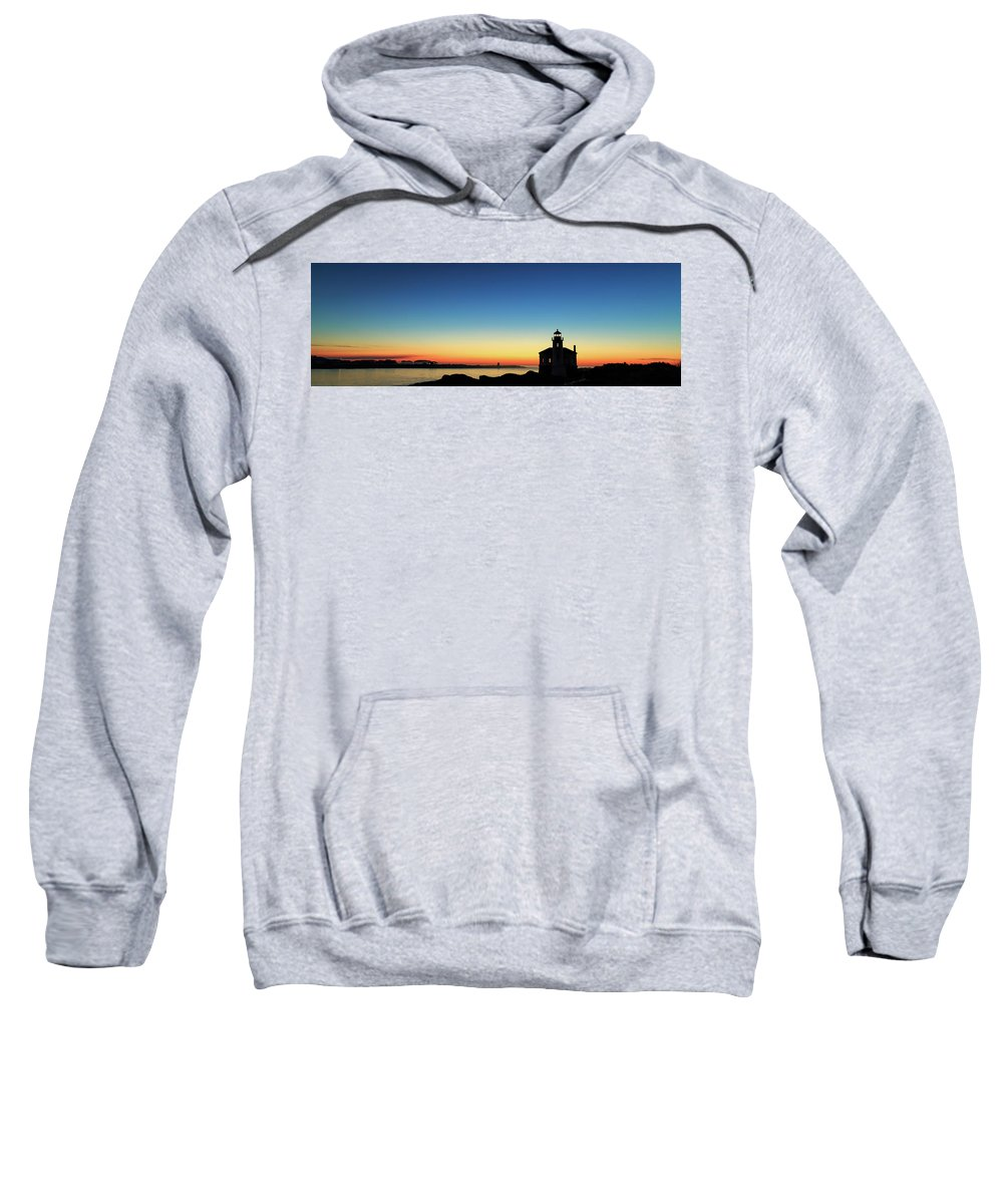 Bandon Sweatshirt featuring the photograph Bandon Lighthouse Twilight Panorama by James Eddy