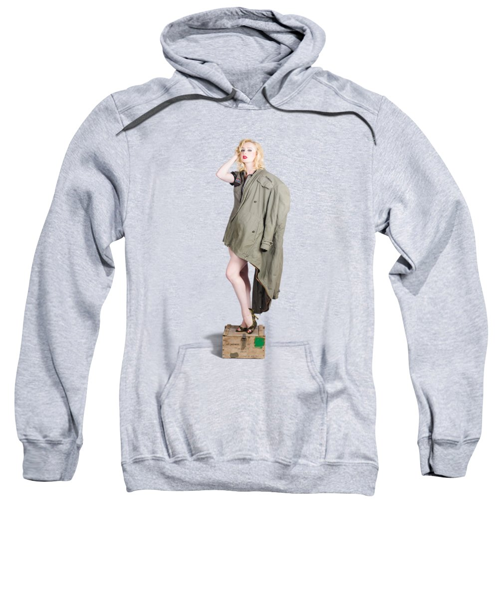 Woman Sweatshirt featuring the photograph Beautiful Military Pinup Girl. Classic Beauty by Jorgo Photography - Wall Art Gallery
