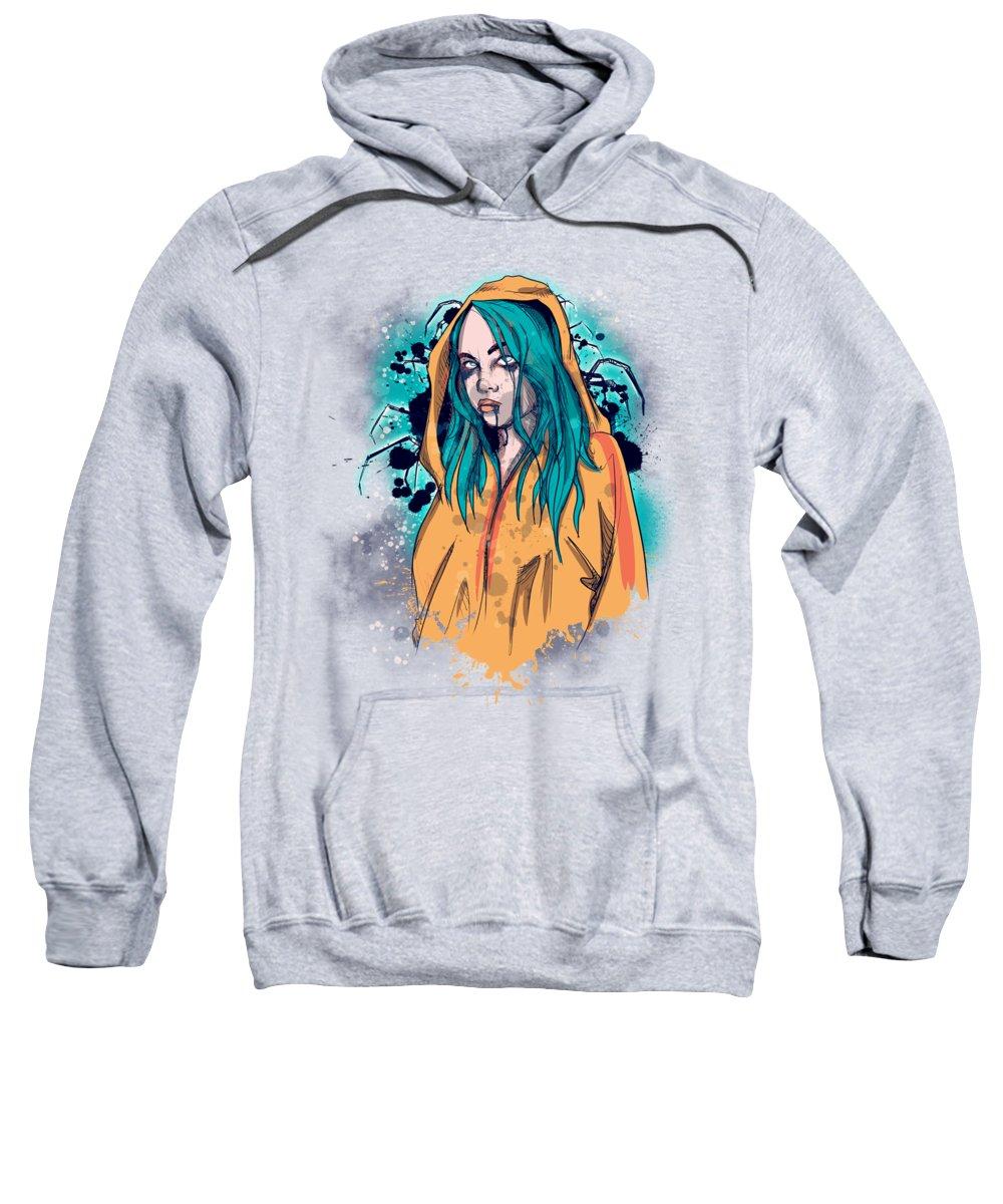 Singer Sweatshirt featuring the drawing Billie by Ludwig Van Bacon