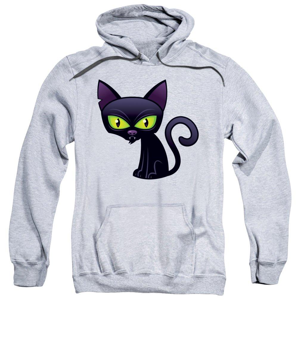 Animal Sweatshirt featuring the digital art Black Cat by John Schwegel